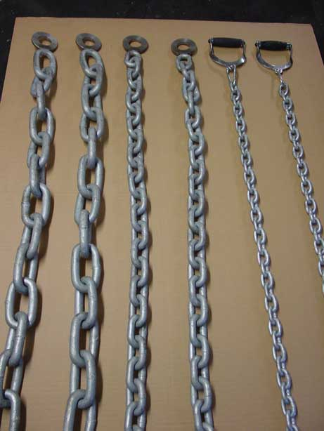 """Rocky"" style chains including stirrup handles (right of picture)."